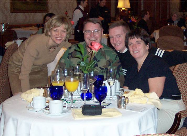 Left to right:  Shawn Woodbridge, Jeff Keane, Yours Truly, and Jeff's wife, Ethel Keane.  We were celebrating something or other at the Ritz Carlton's Suinday brunch in 2003.