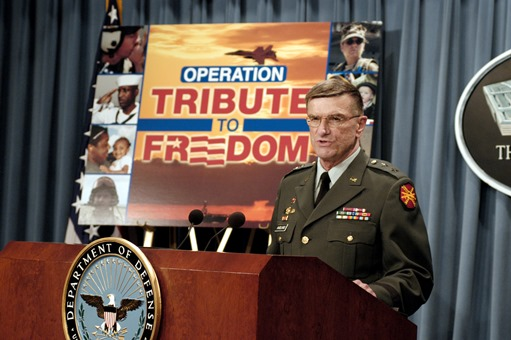 MG Anders Aadland announcing the start of OPERATION Tribute to Freedom in 2003.