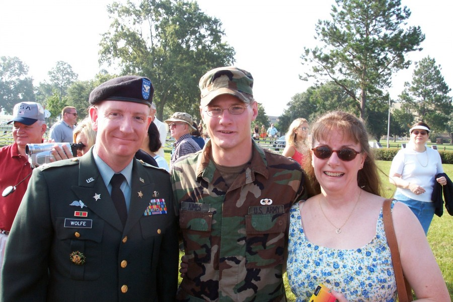 Nephew Andrew Kimes graduated from the Basic Parachutists Course at Fort Benning in the summer of 2003.  From left, me, Andy and Andy's mom and my sister, B.J.